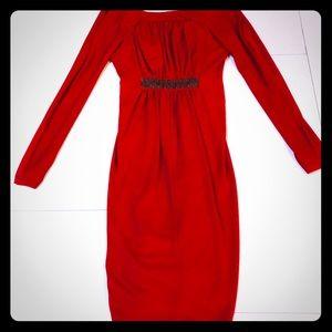 Red long sleeved open back BCBG cocktail dress xs